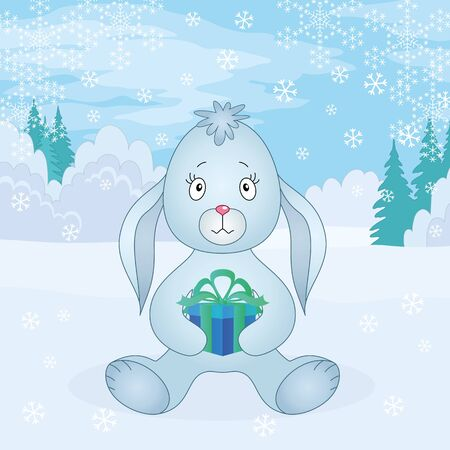 Rabbit bunny with gift box siting in winter forest  Christmas holiday illustration  Vector Vector