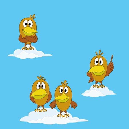 fledgeling: Birds chickens on white clouds in blue sky  Various characters - self-confident, modest, resourceful, lost  Vector Illustration