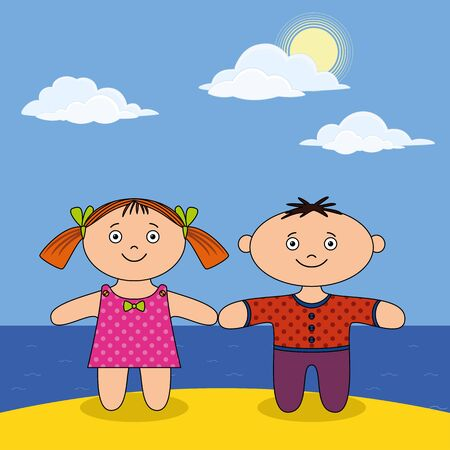 Children on sea shore, little boy and girl, dolls standing on sand beach under blue sky. Vector photo