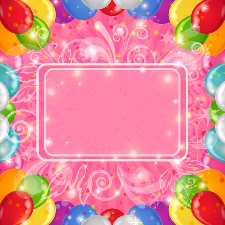 Holiday background with various color balloons, frame and patterns on pink  Vector eps10, contains transparencies Stock Vector - 14800586