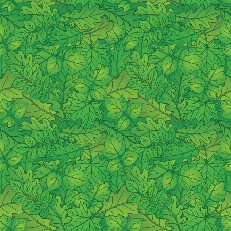 Summer background with green leaves of different plants, nature seamless  Vector Vector