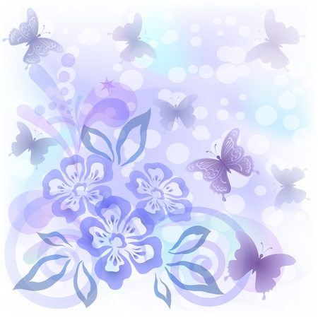 Abstract background with symbolical flowers, butterflies and figures, contains transparencies Vector