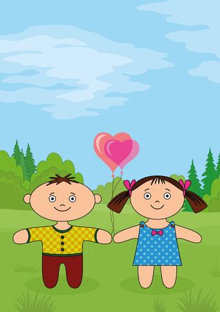 Children on forest glade, little boy and girl, dolls standing on green meadow with valentine heart balloons   Vector