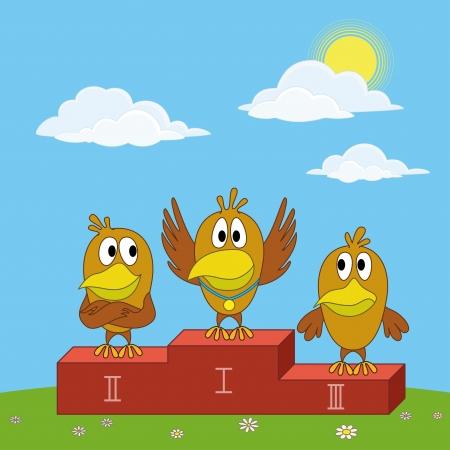 fledgeling: Sports cartoon  birds chickens sportsman standing on a pedestal on green glade illustration
