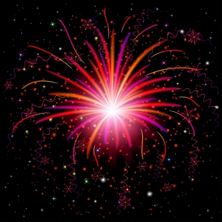 Firework, holiday background of bright colors on black, for web design  Vector eps10, contains transparencies Vector