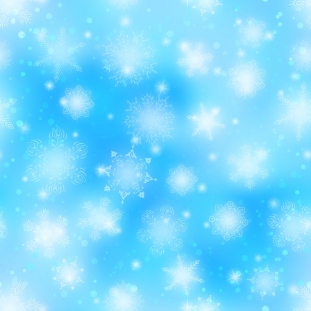 Christmas seamless background with white snowflakes and stars on blue sky  Vector eps10, contains transparencies Stock Vector - 14958671