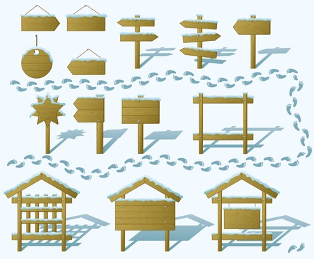 Set of wood board billboards and signs under winter snow   Vector