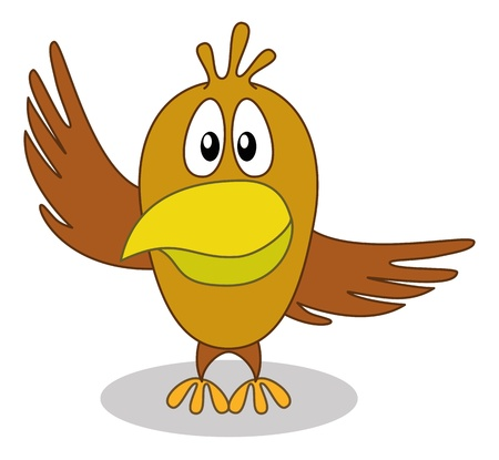 Cheerful brown cartoon bird with two wings, pointing on top and on right Vector