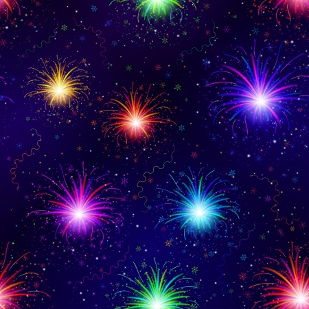 Firework background seamless of various colors on night sky  Pattern for holiday design  , contains transparencies Stock Vector - 15067125