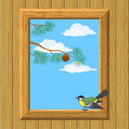 white window: Fondo con madera de la pared y ventana con vista del cielo azul, nubes, ramas de pino y Vector titmouse p�jaro