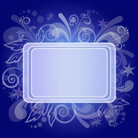Abstract blue holiday background with table, symbolical white flowers and patterns  Vector eps10, contains transparencies Vector
