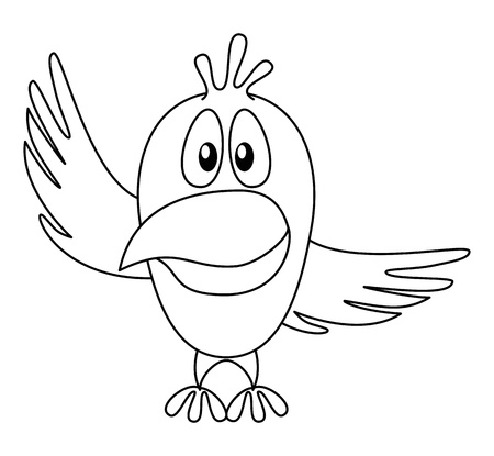 fledgeling: Cheerful cartoon bird with two wings, pointing on top and on right, contour  Vector Illustration