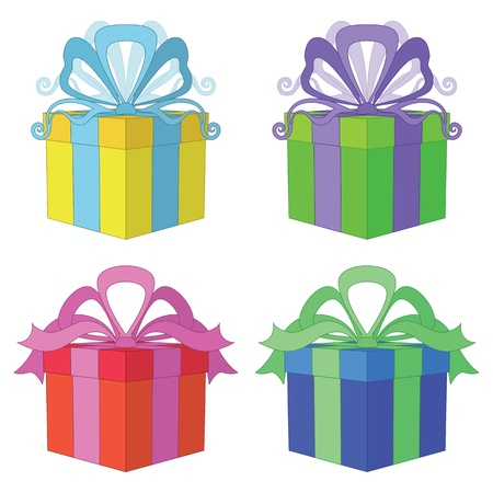 Gift box with bow, holiday symbol, color square package, isolated on white background Vector