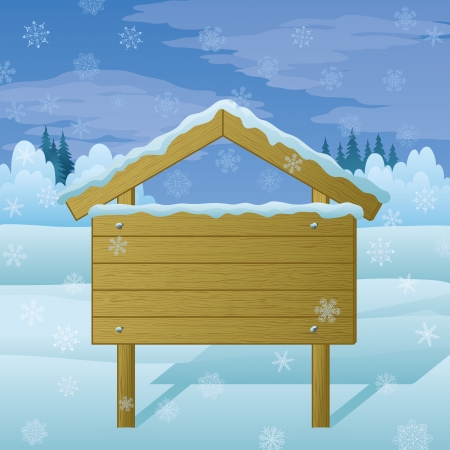 Wood sign for text on background of winter Christmas landscape  Vector Vector
