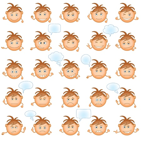 Set of round smilies with brown hair, symbolising various human emotions on white background  Vector Illustration
