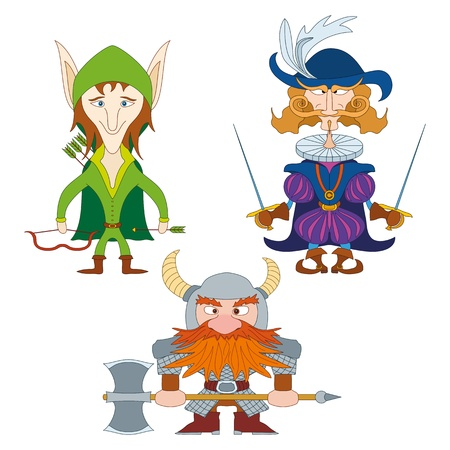 Fantasy brave heroes  elf archer, count fencer and dwarf warrior, funny comic cartoon characters set   Vector