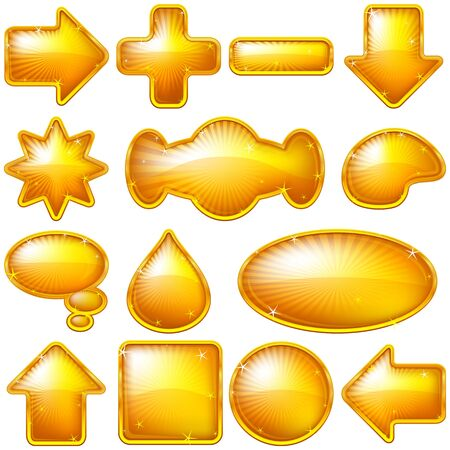 Set of gold buttons of various forms for web design Vector