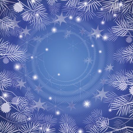 Abstract blue background for holiday design with stars, pine branches and helix   Stock Vector - 15392674