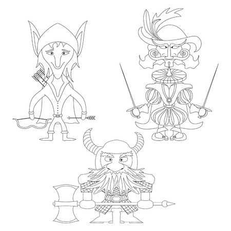Fantasy brave heroes  elf archer, count fencer and dwarf warrior, funny comic cartoon characters set, contour  Vector Vector