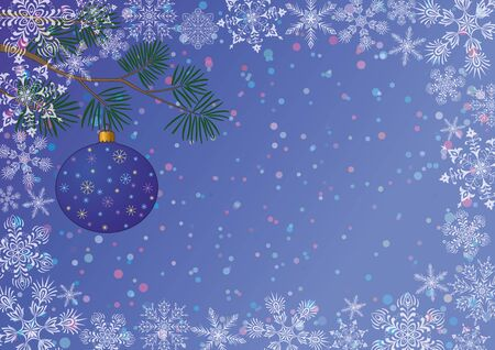 Christmas background for holiday design, snowflakes and pine branch with glass ball on blue sky  Eps10, contains transparencies  Vector Stock Vector - 15442492