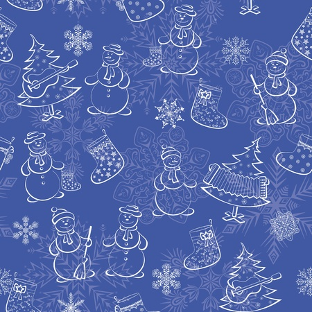Christmas seamless background of cartoon pictograms on blue  snowflakes, snowmans, fir trees, stockings   Vector