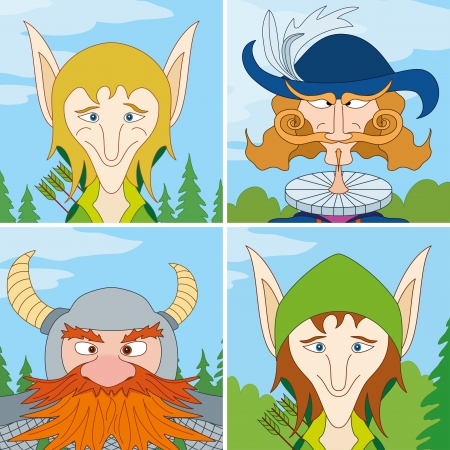 fantasy warrior: Avatar faces of fantasy brave heroes  two elves, dwarf and noble man, funny comic cartoon user icons