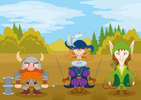 Fantasy brave heroes  elf archer, count fencer and dwarf warrior standing in forest, funny comic cartoon characters  Vector Stock Vector - 15537755