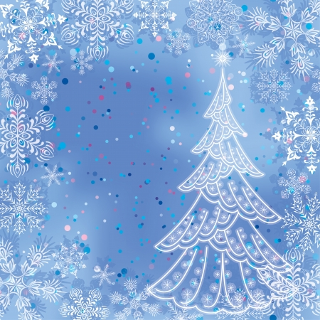 Christmas background for holiday design with snowflakes and contour of fir tree on blue sky, contains transparencies  Vector Stock Vector - 15537759
