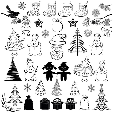 Christmas elements, set of black cartoon silhouettes on white background for holiday design  Vector