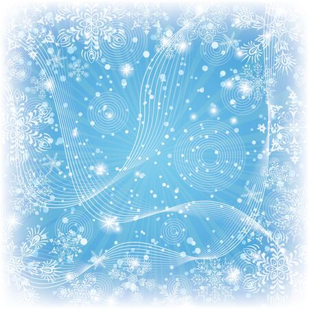Christmas blue background for holiday design with snowflakes, rays and stars contains transparencies Stock Vector - 15554325