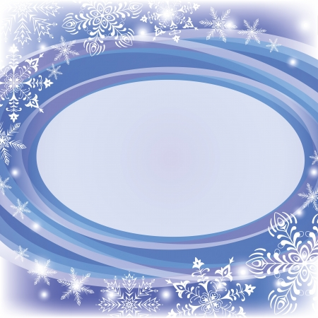 Christmas blue background for holiday design with oval frame and snowflakes  , contains transparencies   Stock Vector - 15658537