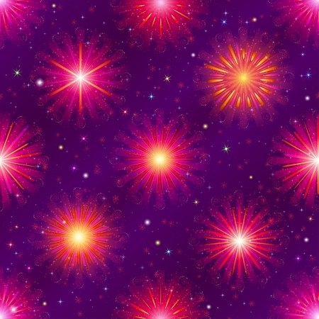 Firework background seamless, red and lilac on night sky  Pattern for holiday design , contains transparencies Vector