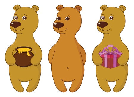 Teddy bear set, cute little toy, standing and smiling, isolated  Various simple, with gift box and honey pot   Vector