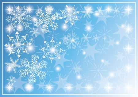 Christmas blue background for holiday design with snowflakes and stars , contains transparencies Stock Vector - 15658554