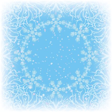 Christmas blue background for holiday design with white abstract patterns and frame of snowflakes  , contains transparencies   Stock Vector - 15658560