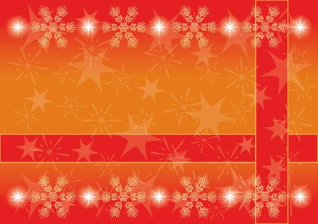 Red and orange Christmas background for holiday design with snowflakes and stars  , contains transparencies   Stock Vector - 15658557
