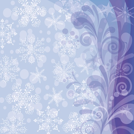 Christmas background for holiday design with abstract floral patterns, snowflakes and circles Stock Vector - 15783379