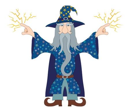 Wizard in blauw starred kostuum staande met de handen omhoog en lanceert bliksem, stripfiguur. Vector