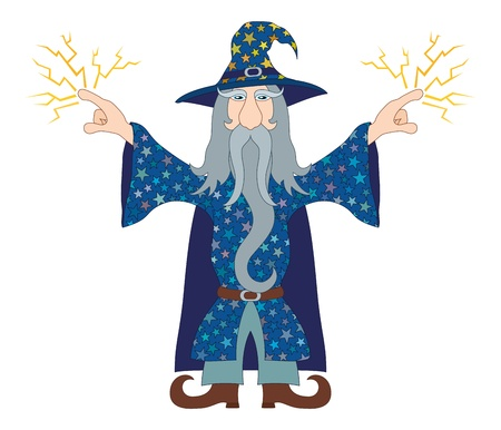 old man beard: Wizard in blue starred costume standing with hands up and launches lightning, cartoon character. Vector