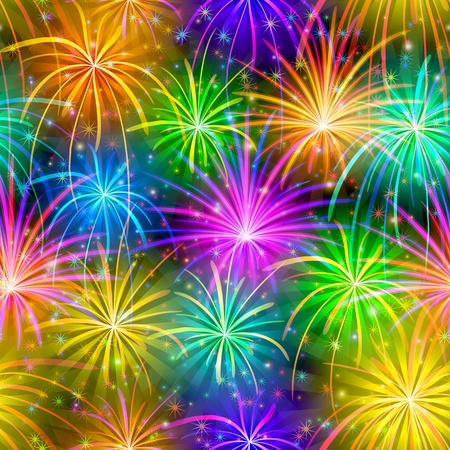 fireworks background: Firework background seamless of various colors  Pattern for holiday design  Vector eps10, contains transparencies