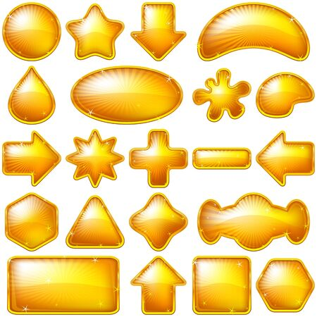 Set of gold buttons of various forms for web design  Eps10, contains transparencies  Vector Vector