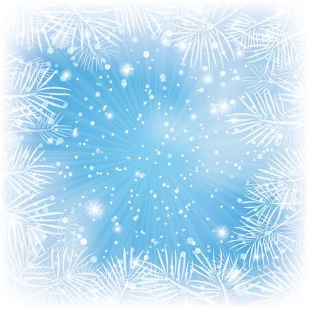 Christmas blue background for holiday design with stars, pine branches and rays Stock Vector - 16002330