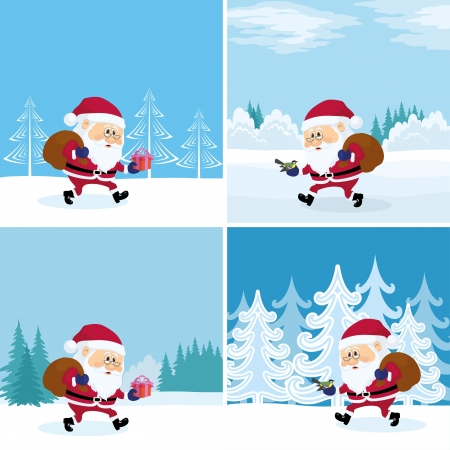set going: Santa Claus with a bag of gifts walking in winter forest, Christmas illustration