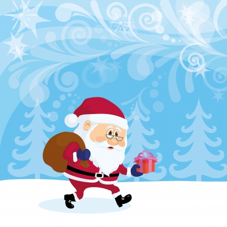 Santa Claus with a bag of gifts walking in winter forest, Christmas cartoon Stock Vector - 16002335