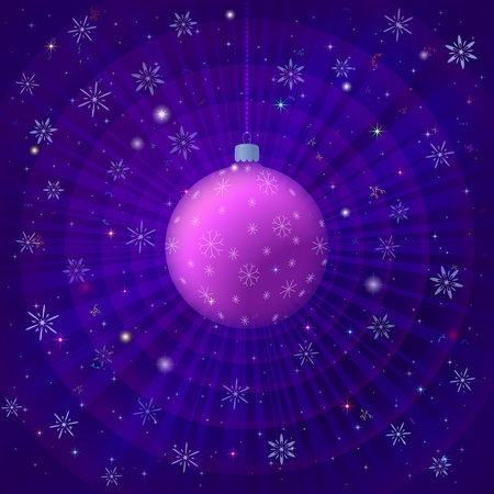Holiday Christmas illustration, glass ball decoration and stars on radial background Stock Vector - 16002338
