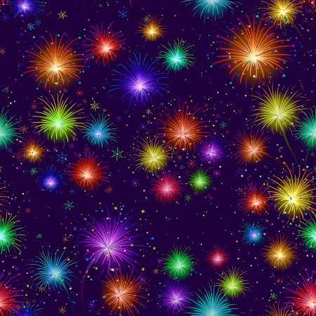 Firework background seamless of various colors on dark night sky  Wallpaper pattern for holiday web design Stock Vector - 16131073