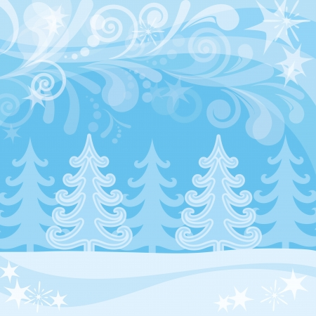 Christmas landscape, winter snowy forest and abstract patterns, background for holiday design , contains transparencies Vettoriali