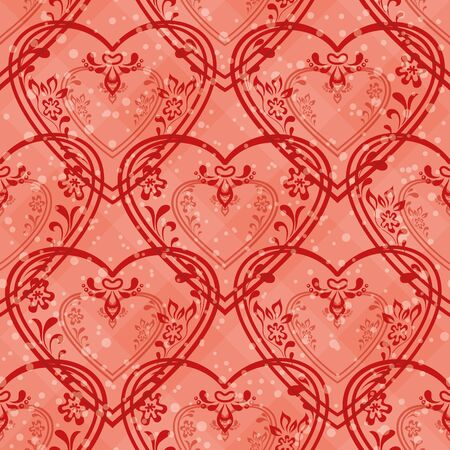 Valentine holiday seamless with pictogram hearts, abstract pink background pattern Stock Vector - 16252539