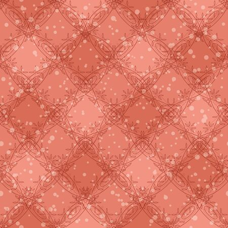 Abstract seamless background with pink plaid pattern, floral borders and confetti   Vector