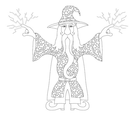 warlock: Wizard in starred costume standing with hands up and launches lightning, cartoon character, contour  Vector Illustration